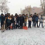 朝阳师专中文系冬季扫雪活动